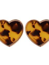 Недорогие -Жен. Серьги-гвоздики - Сердце Простой, Мода Желтый / Света кофе Назначение Повседневные