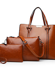 cheap -Women's Bags Genuine Leather Bag Set 3 Pcs Purse Set Buttons / Zipper Blushing Pink / Brown / Wine