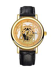 Недорогие -Муж. Наручные часы Кварцевый С гравировкой Повседневные часы Кожа Группа Аналоговый Эйфелева башня Мода Черный / Коричневый - Черный Коричневый