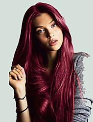 billige -Syntetisk Lace Front Parykker Lige Burgundy Mellemdel Syntetisk hår Cosplay / Varme resistent / Dame Burgundy Paryk Dame Lang Blonde Front / Natural Hairline