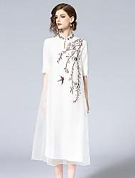 baratos -Mulheres Básico balanço Vestido - Bordado, Floral Médio