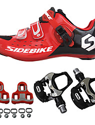 cheap -SIDEBIKE Adults' Cycling Shoes With Pedals & Cleats / Road Bike Shoes Carbon Fiber Cushioning Cycling Red Men's