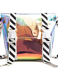 baratos -Mulheres Bolsas PVC Conjuntos de saco 2 Pcs Purse Set Ziper Arco-íris