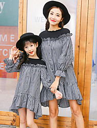 cheap -Mommy and Me Basic Check Long Sleeve Dress