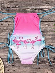 baratos -Infantil Para Meninas Flamingos Sólido / Geométrica / Estampa Colorida Sem Manga Roupa de Banho