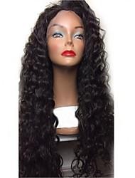 Недорогие -Не подвергавшиеся окрашиванию Лента спереди Парик Перуанские волосы Волнистый Парик Стрижка каскад 180% С детскими волосами / Природные волосы / Для темнокожих женщин Черный Жен.