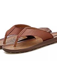 cheap -Men's Shoes Faux Leather Summer Light Soles Slippers & Flip-Flops White / Black / Brown