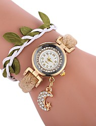 Недорогие -Жен. Часы-браслет Китайский Повседневные часы / Милый / Имитация Алмазный PU Группа Кулоны / Листья Черный / Белый / Синий