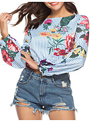 economico -T-shirt Per donna Essenziale Con stampe, A strisce / Fantasia floreale