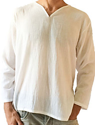 cheap -Men's Linen T-shirt - Solid Colored V Neck / Long Sleeve