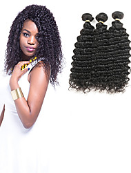 baratos -3 pacotes Cabelo Indiano Ondulado 100% Remy Hair Weave Bundles Extensões de Cabelo Natural 8-30 polegada Tramas de cabelo humano Parte gratuito Brilhante / Novo Design / 100% Virgem Preta Extensões