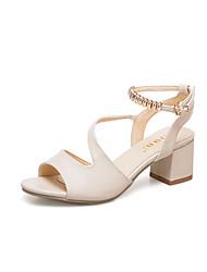 economico -Per donna Scarpe PU (Poliuretano) Primavera estate Con cinghia / Cinturino alla caviglia Sandali Heel di blocco Nero / Beige / Rosa