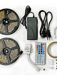 cheap -2x5M Light Sets / RGB Strip Lights / Remote Controls 600 LEDs SMD5050 1 12V 6A Adapter / 1 44Keys Remote Controller RGB / RGB+White Cuttable / Waterproof / Decorative 100-240 V 1set