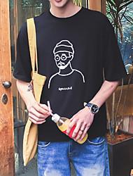 baratos -Homens Tamanhos Grandes Camiseta Retrato Algodão Decote Redondo / Manga Curta