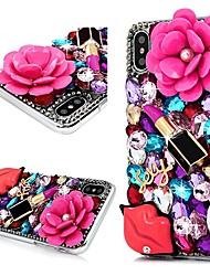 Недорогие -Кейс для Назначение Apple iPhone X / iPhone 8 Pluss / iPhone 8 Стразы Кейс на заднюю панель Цветы Твердый ПК