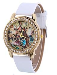 baratos -Xu™ Mulheres Relógio Elegante / Relógio de Pulso Chinês Criativo / Relógio Casual / imitação de diamante PU Banda Desenho / Fashion Preta / Branco / Azul / Mostrador Grande / Um ano