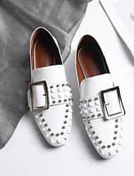 abordables -Femme Chaussures Cuir Nappa Eté Confort Mocassins et Chaussons+D6148 Talon Bas Bout fermé Rivet Blanc / Noir