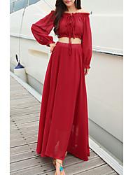 abordables -Mujer Playa Delgado Corte Swing Vestido Alta cintura Maxi Escote Barco