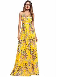 baratos -Mulheres Chifon Vestido Floral Longo