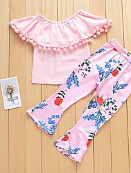 cheap -Baby Girls' Solid Colored / Floral Sleeveless Clothing Set