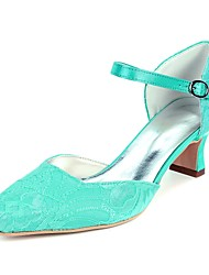 cheap -Women's Shoes Satin Spring & Summer Basic Pump Wedding Shoes Block Heel Square Toe Buckle Green / Blue / Ivory / Party & Evening