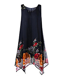 Недорогие -Жен. А-силуэт Платье - Цветочный принт V-образный вырез Средней длины / Ассиметричное