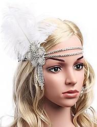abordables -Gatsby le magnifique Rétro / Années 20 Costume Femme Bandeau Garçonne Bandeaux Blanc / Noir Vintage Cosplay Fibre synthétique / Strass Déguisement d'Halloween / Glands