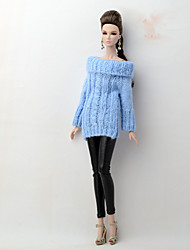 cheap -Seperate Bodies / Pants Cardigans & Sweater For Barbie Doll Blue / Black Textile / Faux Leather / Artificial Wool Top / Pants For Girl's Doll Toy