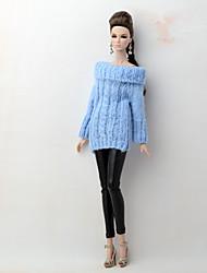 baratos -Corpos separados / Calças Cardigãs e Suéteres Para Boneca Barbie Azul / Preto Têxtil / Couro Ecológico / Lã artificial Blusa / Calças Para Menina de Boneca de Brinquedo