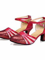 baratos -Mulheres Sapatos de Dança Moderna Couro Ecológico Salto Salto Grosso Sapatos de Dança Dourado / Prata / Vermelho / Espetáculo / Ensaio / Prática