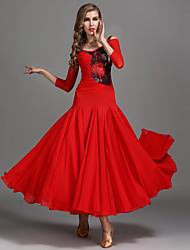 abordables -Danse de Salon Robes Femme Utilisation Mousseline de soie / Dentelle / Tulle Ruché / Combinaison Taille haute Robe