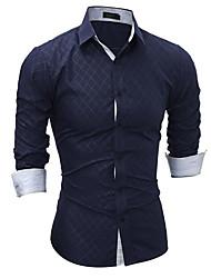 Недорогие -Муж. Рубашка Уличный стиль В клетку / Длинный рукав
