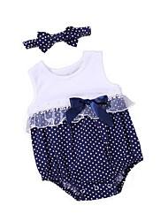 cheap -2pcs Baby Girls' Polka Dot Sleeveless Bodysuit
