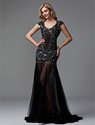 cheap -Sheath / Column V Neck Sweep / Brush Train Lace / Tulle Formal Evening Dress with Beading / Sequin / Crystals by TS Couture®