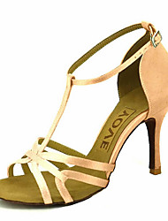 cheap -Women's Latin Shoes / Ballroom Shoes Satin Sandal / Heel Rhinestone / Buckle Customizable Dance Shoes Yellow / Fuchsia / Purple