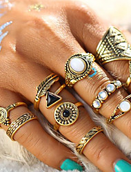 cheap -Women's Ring Set - Alloy Feather Vintage, Fashion, Statement 8 Gold / Silver For Holiday / Bar