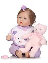 Недорогие -NPKCOLLECTION Куклы реборн Девочки 18 дюймовый как живой, Искусственные имплантации Голубые глаза Детские Девочки Подарок