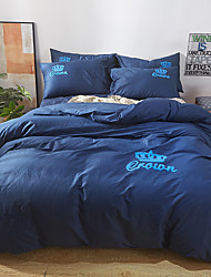 cheap -Duvet Cover Sets Solid Colored 100% Cotton Embroidery 4 Piece