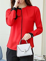 Недорогие -женская блузка - цветной блок / сплошной цветной шею