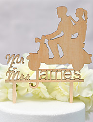 cheap -Cake Topper Classic Theme / Wedding Love Wooden / Bamboo Wedding / Anniversary with Net 1 pcs OPP