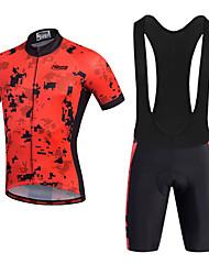 economico -21Grams Per uomo Manica corta Maglia con salopette corta da ciclismo - Rosso Bicicletta Pantaloncini / Cosciali / Salopette / Maglietta / Maglia, Pad 3D, Asciugatura rapida, Traspirante, Strisce