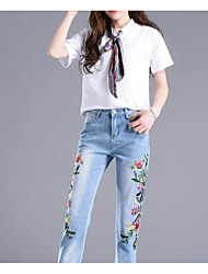 cheap -Women's Basic / Street chic Jeans Pants - Solid Colored / Color Block Embroidered