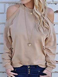 abordables -Mujer Vintage Borla - Algodón Camiseta Un Color Manga Farol Blanco y Negro