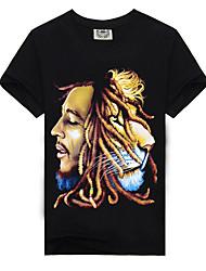 baratos -Homens Camiseta Básico Estampado, Estampa Colorida / Animal / Retrato