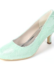 cheap -Women's Shoes Satin Spring & Summer Basic Pump Wedding Shoes Kitten Heel Round Toe Green / Blue / Ivory / Party & Evening