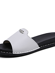 cheap -Women's Shoes Cowhide Spring & Summer Comfort Slippers & Flip-Flops Flat Heel White / Black