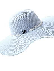 Недорогие -Жен. Классический Праздник Соломенная шляпа Солома,Однотонный Лето Бежевый Темно синий Светло-синий