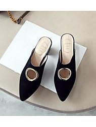 abordables -Mujer Zapatos Piel de Oveja Verano Confort Zuecos y pantuflas Heterotypic Heel Negro / Rojo / Nudo