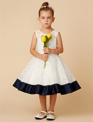 cheap -Princess Knee Length Flower Girl Dress - Lace Sleeveless Jewel Neck with Bow(s) by LAN TING BRIDE®