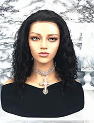 Недорогие -человеческие волосы Remy Лента спереди Парик Бразильские волосы Волнистый Парик 130% Плотность волос Жен. Средние Парики из натуральных волос на кружевной основе